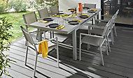 Salon de jardin Brusnik Barbana- Table + 8 fauteuils gris