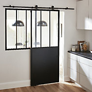 Porte Atelier noire 83 cm + système coulissant Indus