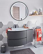 Meuble sous vasque Cooke & Lewis graphite Vague 104 cm + complément droit + plan vasque en verre