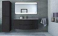 Meuble sous vasque Cooke & Lewis graphite Vague 138 cm + complément gauche et droit + plan vasque en verre