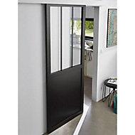 Porte Atelier noire 83cm + système coulissant