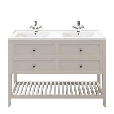 Meuble sous vasque à poser 4 tiroirs GoodHome Perma taupe 120 cm + plan double vasque Lana