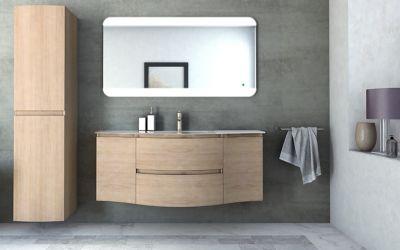 Meuble sous vasque à suspendre Cooke & Lewis Vague décor chêne naturel 138 cm + plan vasque en résin