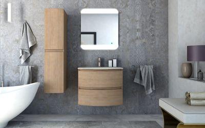 Meuble sous vasque à suspendre Cooke & Lewis Vague décor chêne naturel 69 cm + plan vasque en résine