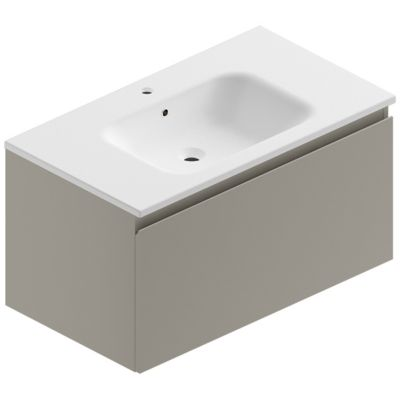 Meuble sous vasque à suspendre Pura gris 90 cm + plan vasque en résine blanc mat