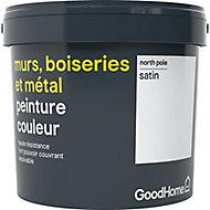 Peinture résistante murs, bois et métal GoodHome blanc North Pole satin 5L