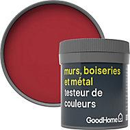 Testeur peinture résistante murs, boiseries et métal GoodHome rouge Chelsea mat 50ml
