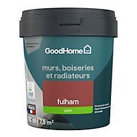 Peinture résistante murs, boiseries et métal GoodHome rouge Fulham satin 0,75L