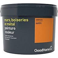Peinture résistante murs, boiseries et métal GoodHome orange Valencia satin 2,5L