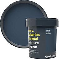 Peinture résistante murs, boiseries et métal GoodHome bleu Vence satin 0,75L