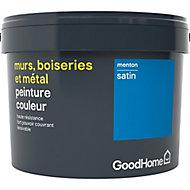 Peinture résistante murs, boiseries et métal GoodHome bleu Menton satin 2,5L