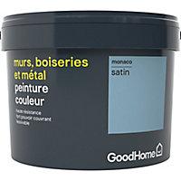 Peinture résistante murs, boiseries et métal GoodHome bleu Monaco satin 2,5L