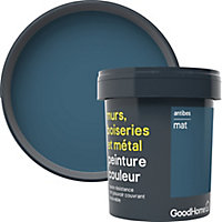 Peinture résistante murs, boiseries et métal GoodHome bleu Antibes mat 0,75L