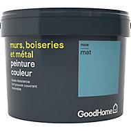 Peinture résistante murs, boiseries et métal GoodHome bleu Nice mat 2,5L