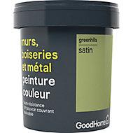 Peinture résistante murs, boiseries et métal GoodHome vert Greenhills satin 0,75L