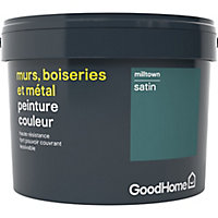 Peinture résistante murs, boiseries et métal GoodHome vert Milltown satin 2,5L