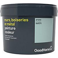 Peinture résistante murs, boiseries et métal GoodHome vert Artane satin 2,5L