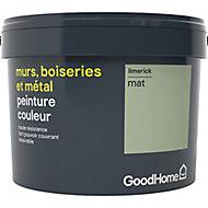 Peinture résistante murs, boiseries et métal GoodHome vert Limerick mat 2,5L