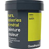Peinture résistante murs, boiseries et métal GoodHome vert Cabra satin 0,75L