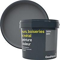 Peinture résistante murs, bois et métal GoodHome gris Hamilton satin 5L