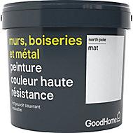 Peinture résistante murs, boiseries et métal GoodHome blanc North Pole mat 5L