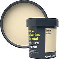 Peinture résistante murs, boiseries et métal GoodHome blanc Toronto satin 0,75L
