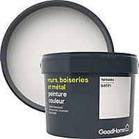 Peinture résistante murs, boiseries et métal GoodHome blanc Fairbanks satin 2,5L