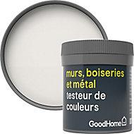 Testeur peinture résistante murs, boiseries et métal GoodHome blanc Fairbanks mat 50ml
