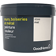 Peinture résistante murs, boiseries et métal GoodHome blanc Ottawa mat 2,5L