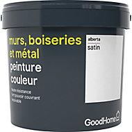 Peinture résistante murs, bois et métal GoodHome blanc Alberta satin 5L