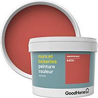 Peinture murs et boiseries GoodHome rouge Westminster satin 2,5L