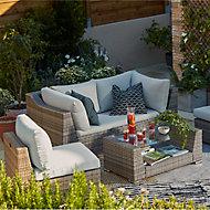 Salon bas de jardin Blooma Maevea aluminium gris 4 personnes