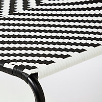 Fauteuil bas de jardin GoodHome Morillo acier noir et blanc motifs chevrons