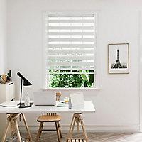 Store enrouleur Colours Elin jour nuit ligné blanc et gris 55 x 180 cm