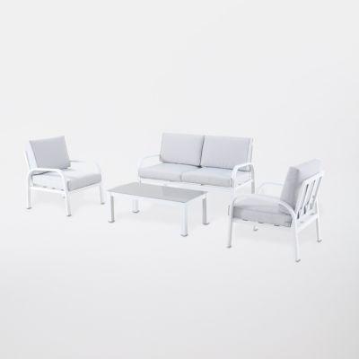 Salon De Jardin Aluminium Gioura Blanc Et Gris Castorama
