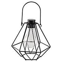 Lanterne solaire LED mini cage noir IP44