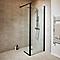 Paroi de douche walk in noir GoodHome Beloya transparente 125 cm + paroi mobile et barre de fixation