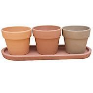 Trio de pots pour plantes aromatiques terre cuite ø9cm