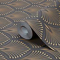 Papier peint vinyl sur intissé echium noir et or