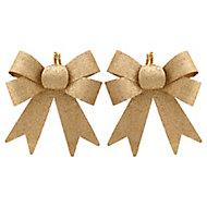 Décoration Nœud or (2 pièces)
