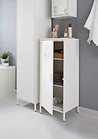 Demi-colonne de salle de bains fermée GoodHome Saranda L. 40 x H. 100 x P. 36 cm métal blanc