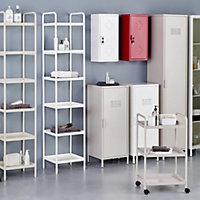 Colonne de salle de bains ouverte GoodHome Saranda métal blanc L. 40 x H. 190 x P. 36 cm