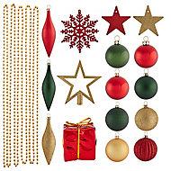 Assortiment de décorations de noël tradition, 100 pièces