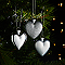 Décoration coeur argenté (6 pièces)