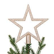 Décoration cimier étoile 20 cm champagne