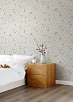 Papier peint intissé GoodHome Jansi jaune et gris 53cm