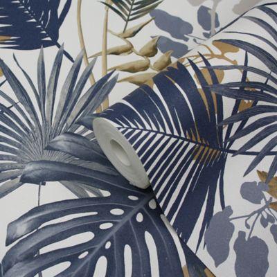 Papier peint vinyle sur intissé GoodHome Ferula bleu