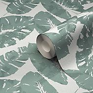 Papier peint vinyle sur intissé GoodHome Scolyme vert 53cm