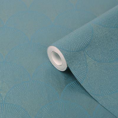 Papier peint vinyle sur intissé GoodHome Kalmi bleu canard