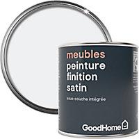 Peinture de rénovation meubles GoodHome blanc North Pole satin 125ml